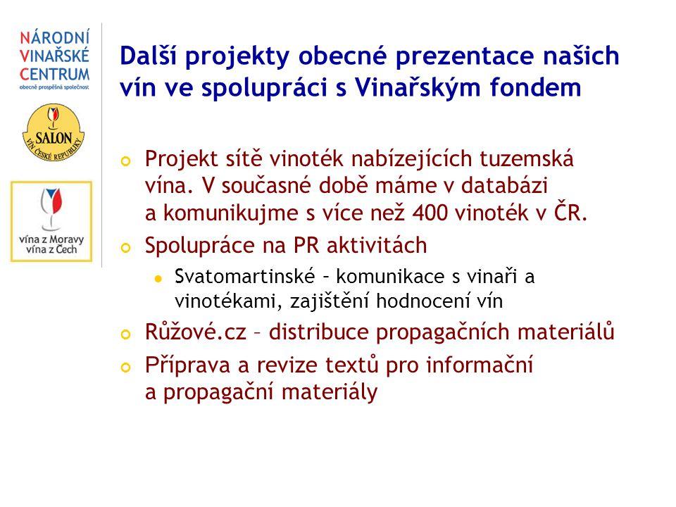 Další projekty obecné prezentace našich vín ve spolupráci s Vinařským fondem