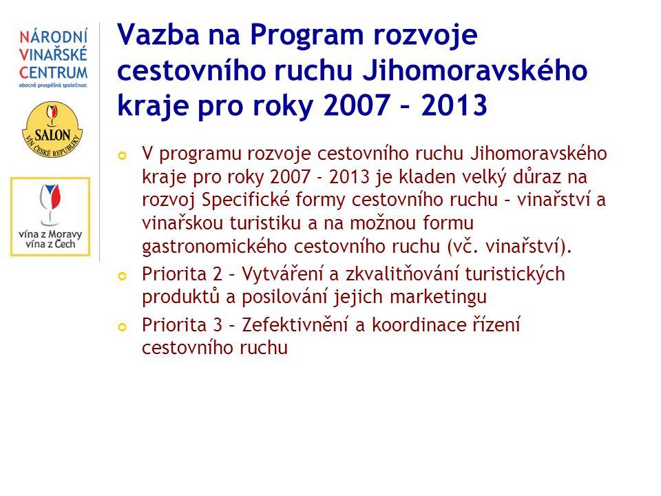 Vazba na Program rozvoje cestovního ruchu Jihomoravského kraje pro roky 2007 – 2013