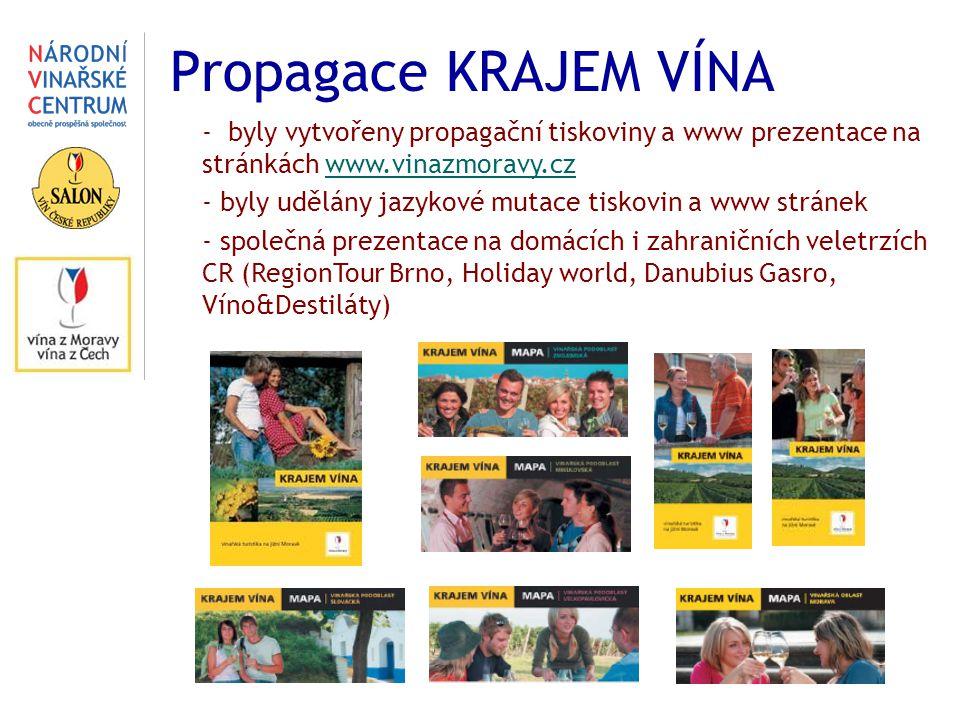 Propagace KRAJEM VÍNA - byly vytvořeny propagační tiskoviny a www prezentace na stránkách www.vinazmoravy.cz.