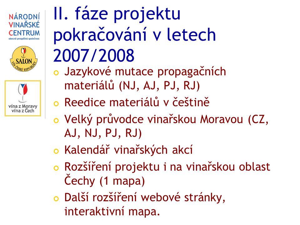 II. fáze projektu pokračování v letech 2007/2008