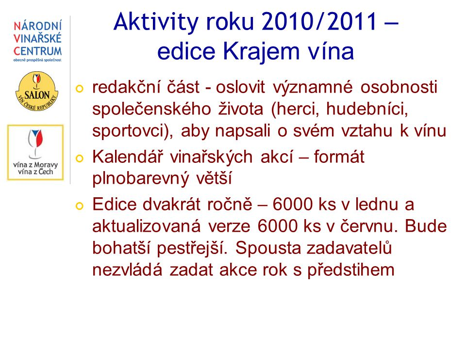 Aktivity roku 2010/2011 – edice Krajem vína