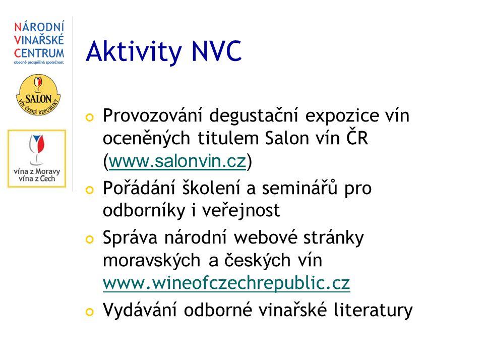 Aktivity NVC Provozování degustační expozice vín oceněných titulem Salon vín ČR (www.salonvin.cz)