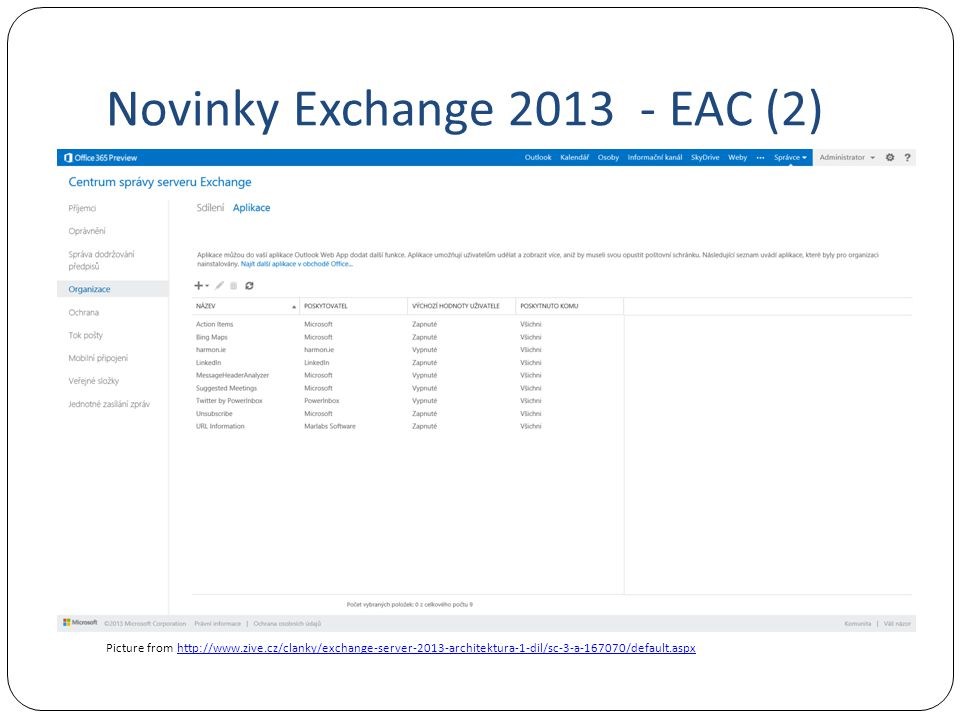 Novinky Exchange 2013 - EAC (2)