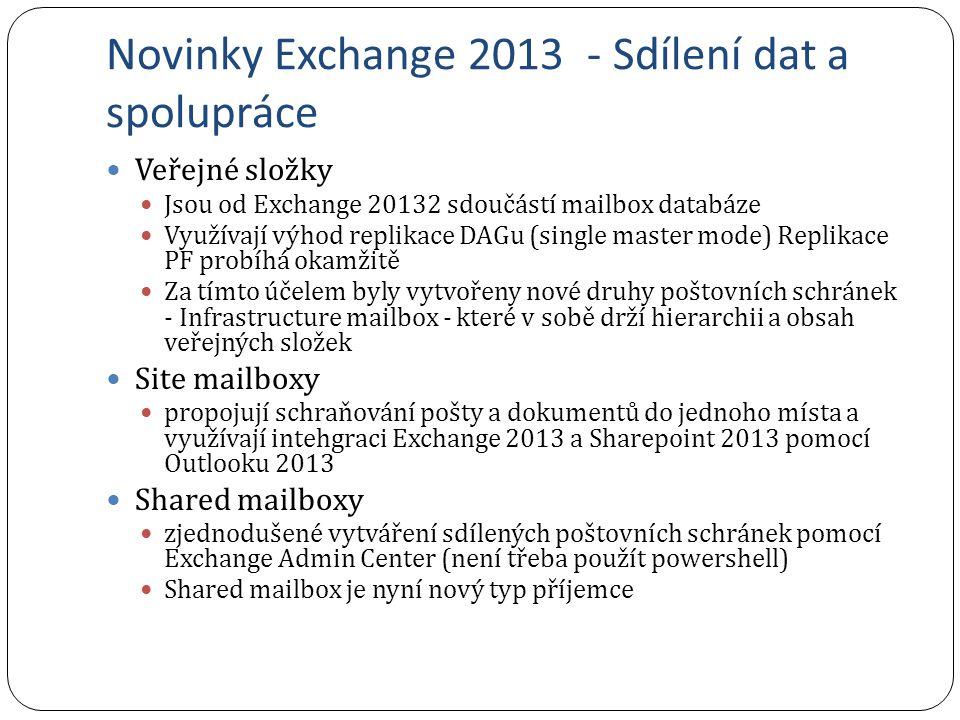 Novinky Exchange 2013 - Sdílení dat a spolupráce