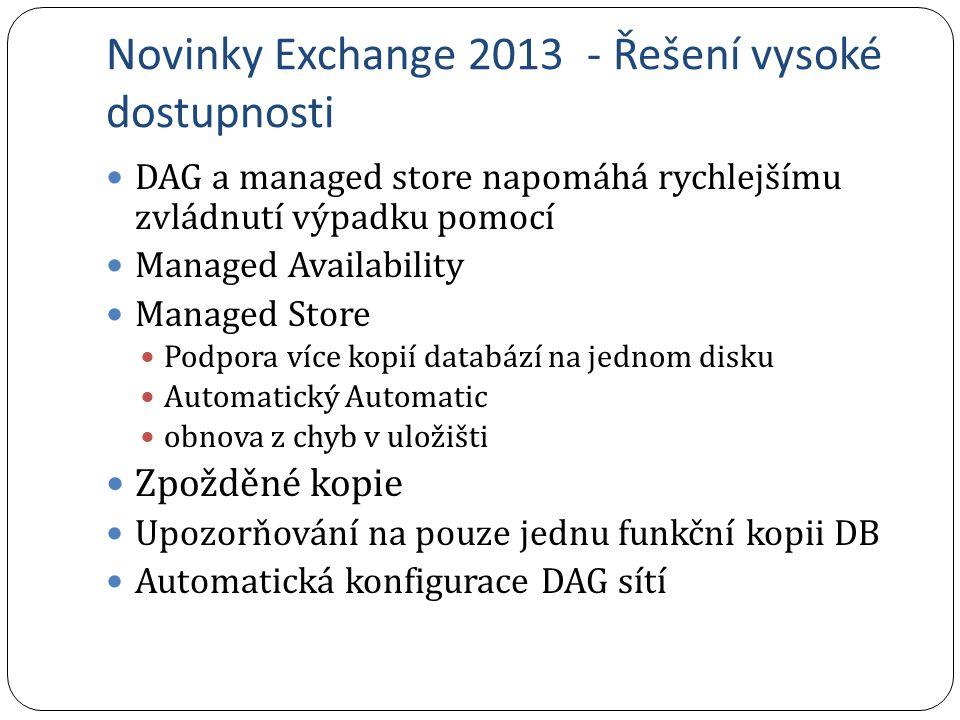 Novinky Exchange 2013 - Řešení vysoké dostupnosti