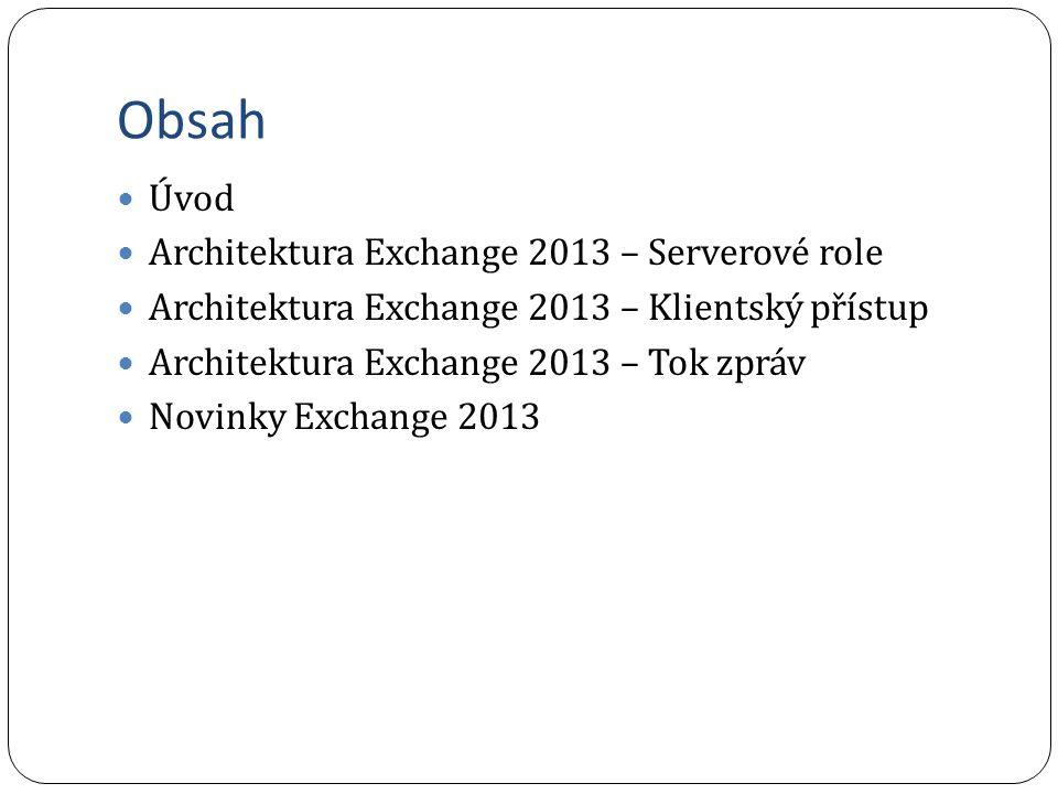Obsah Úvod Architektura Exchange 2013 – Serverové role