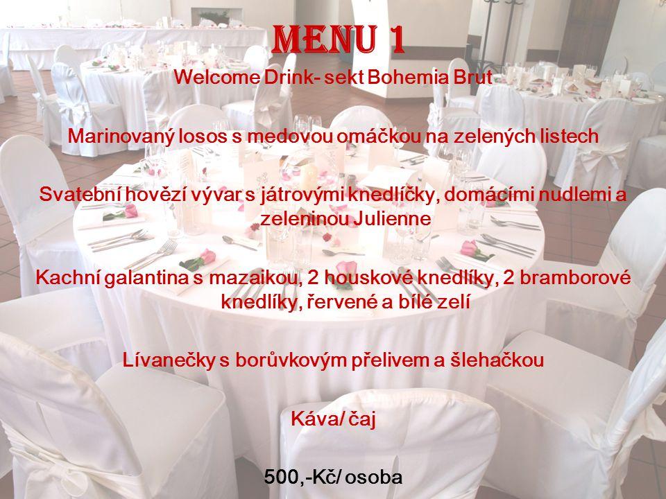 Menu 1 Welcome Drink- sekt Bohemia Brut