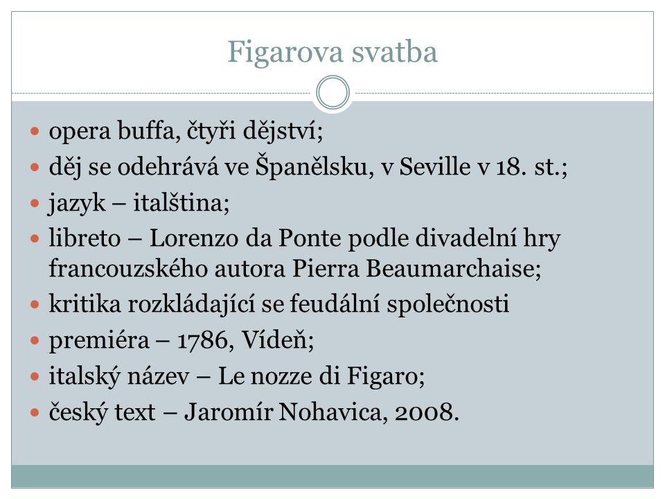 Figarova svatba opera buffa, čtyři dějství;