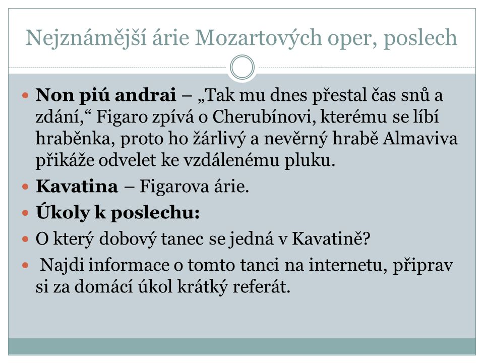 Nejznámější árie Mozartových oper, poslech