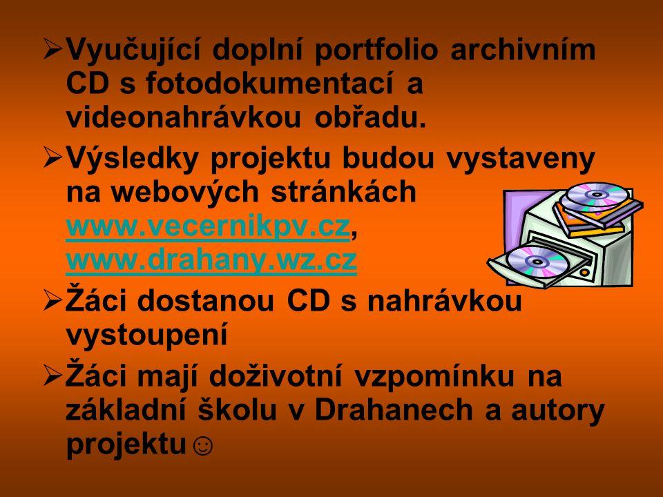 Vyučující doplní portfolio archivním CD s fotodokumentací a videonahrávkou obřadu.
