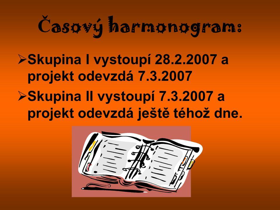 Časový harmonogram: Skupina I vystoupí 28.2.2007 a projekt odevzdá 7.3.2007.