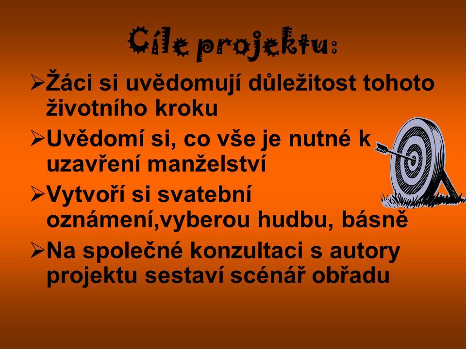 Cíle projektu: Žáci si uvědomují důležitost tohoto životního kroku