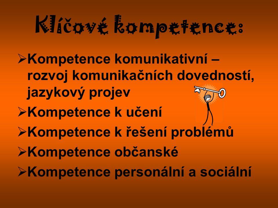 Klíčové kompetence: Kompetence komunikativní – rozvoj komunikačních dovedností, jazykový projev. Kompetence k učení.