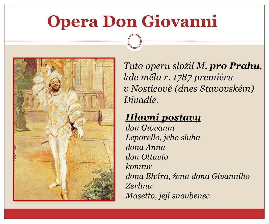 Opera Don Giovanni Tuto operu složil M. pro Prahu,