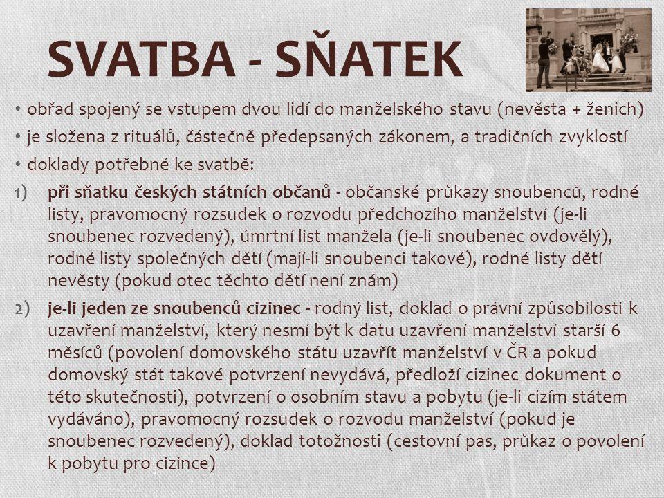 SVATBA - SŇATEK obřad spojený se vstupem dvou lidí do manželského stavu (nevěsta + ženich)