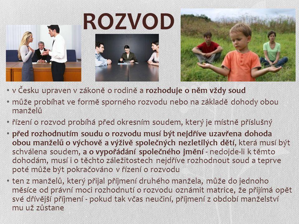 ROZVOD v Česku upraven v zákoně o rodině a rozhoduje o něm vždy soud