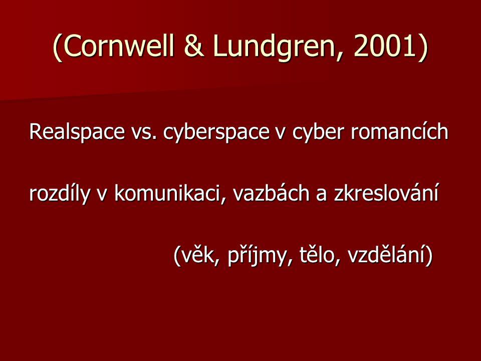 (Cornwell & Lundgren, 2001) Realspace vs. cyberspace v cyber romancích
