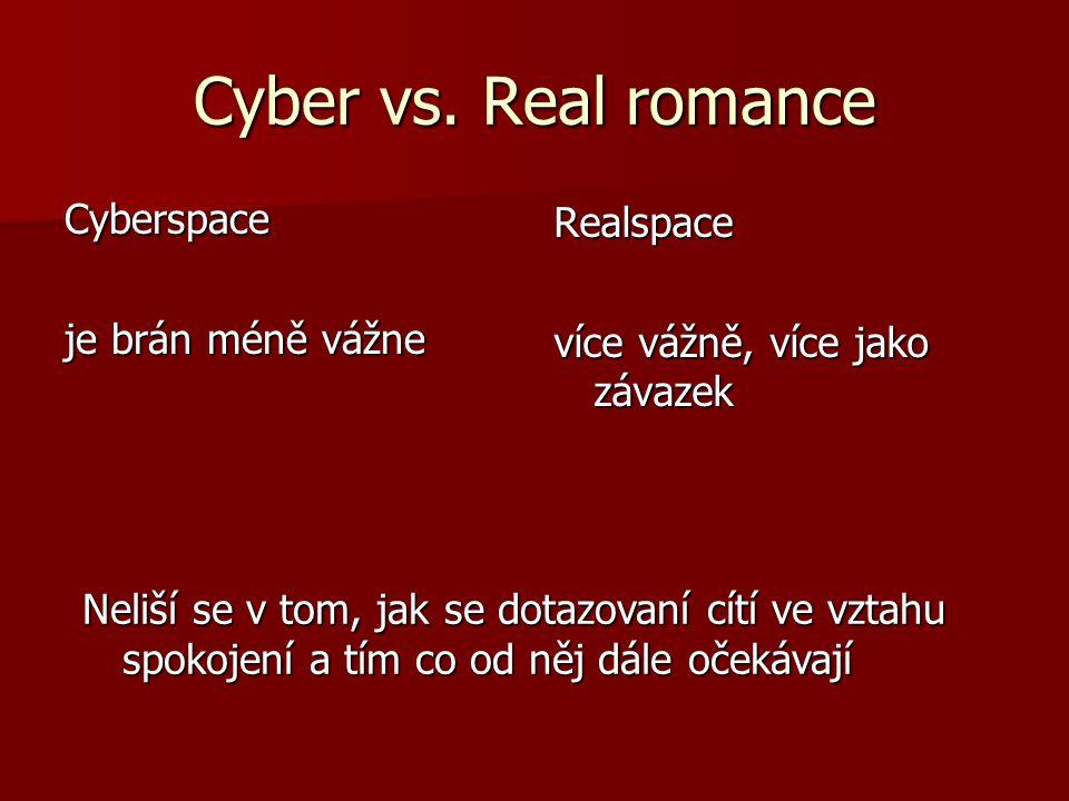 Cyber vs. Real romance Cyberspace Realspace je brán méně vážne