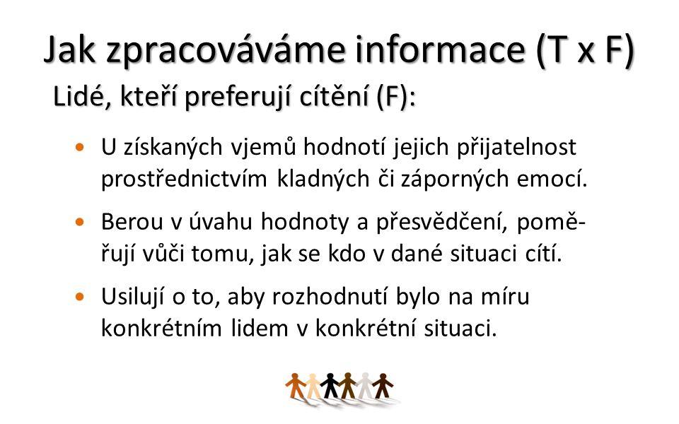 Jak zpracováváme informace (T x F)