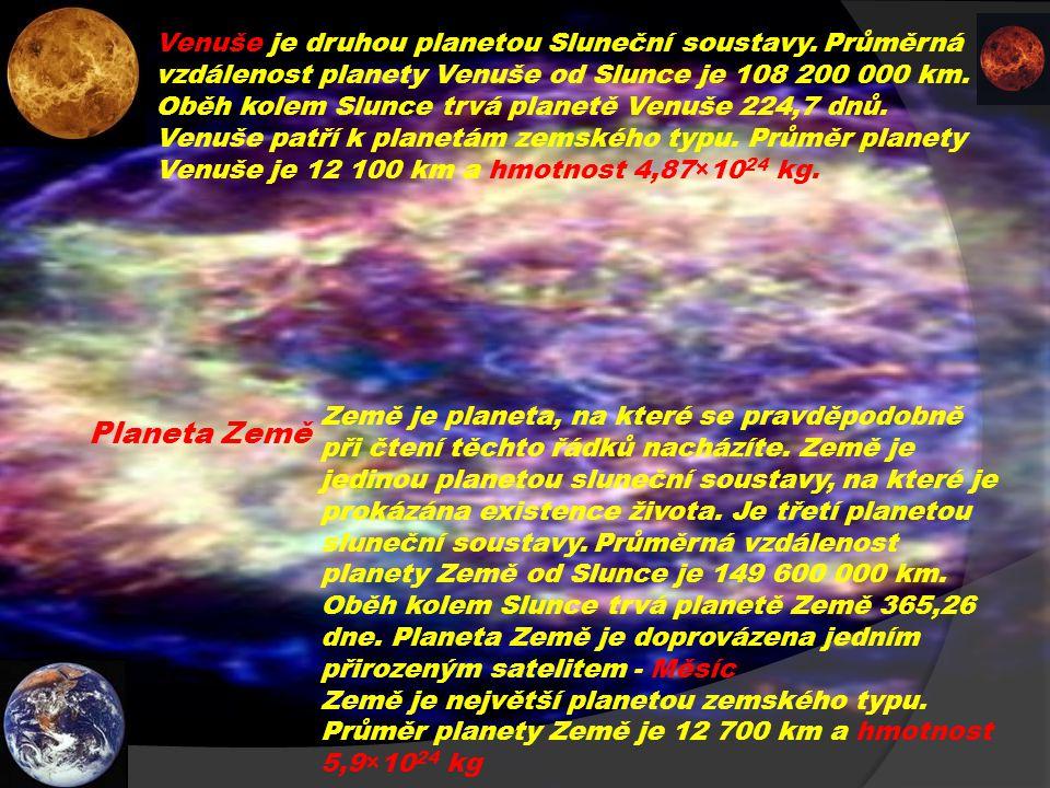 Venuše je druhou planetou Sluneční soustavy