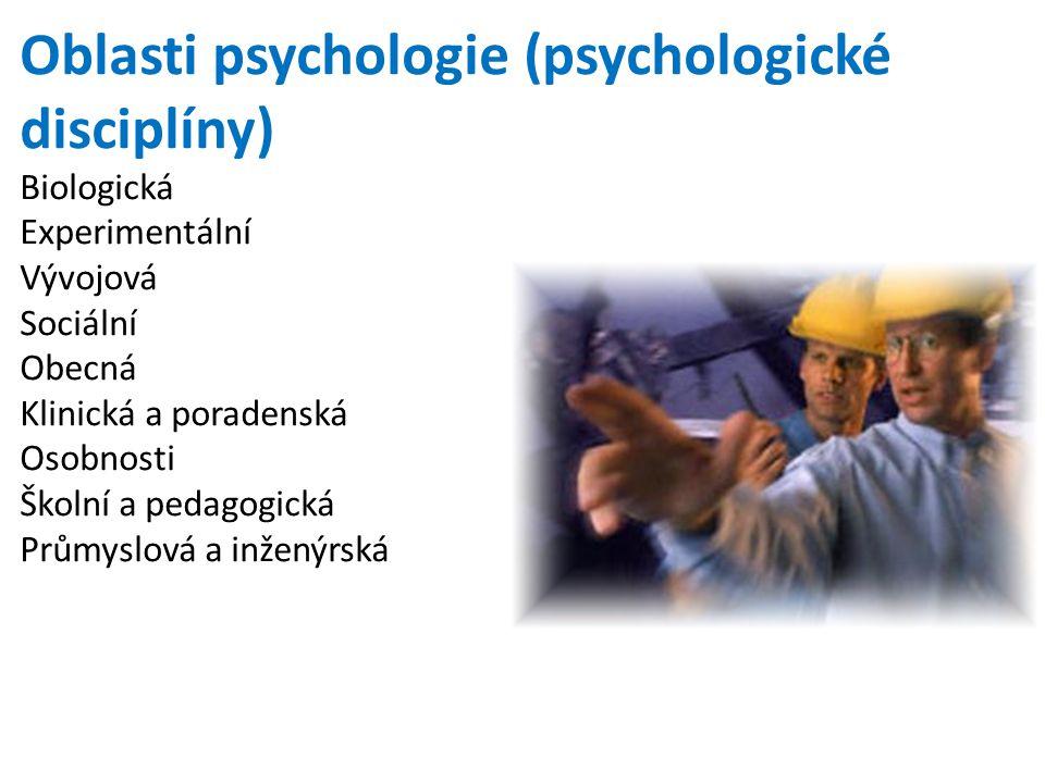 Oblasti psychologie (psychologické disciplíny)