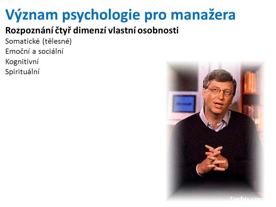 Význam psychologie pro manažera