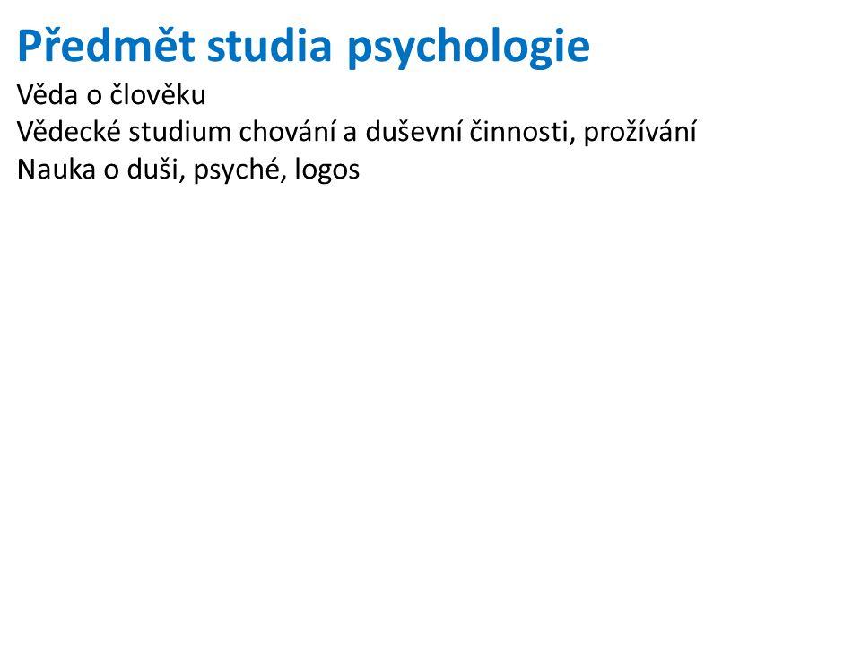 Předmět studia psychologie