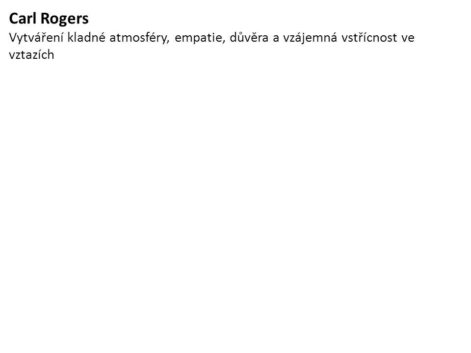 Carl Rogers Vytváření kladné atmosféry, empatie, důvěra a vzájemná vstřícnost ve vztazích