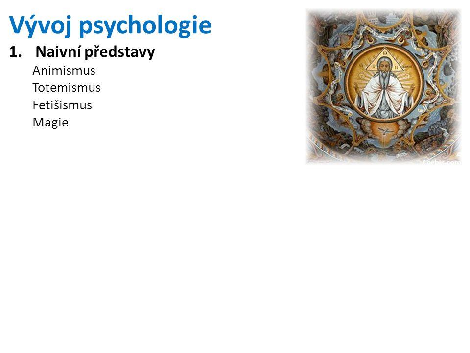 Vývoj psychologie Naivní představy Animismus Totemismus Fetišismus
