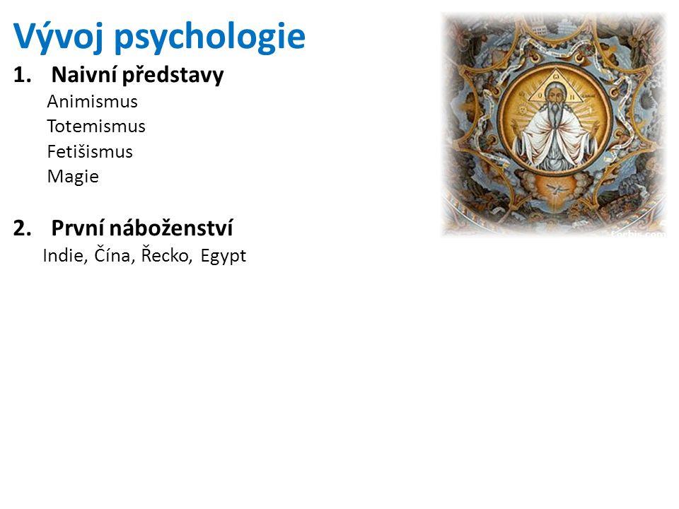 Vývoj psychologie Naivní představy První náboženství Animismus