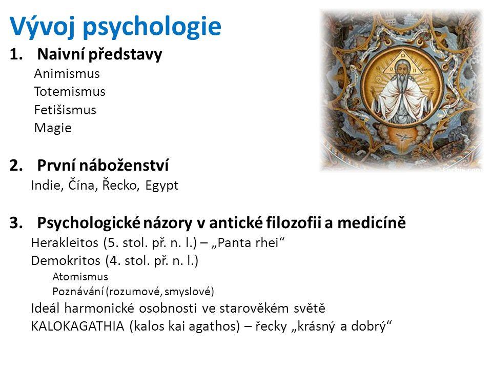 Vývoj psychologie Naivní představy První náboženství