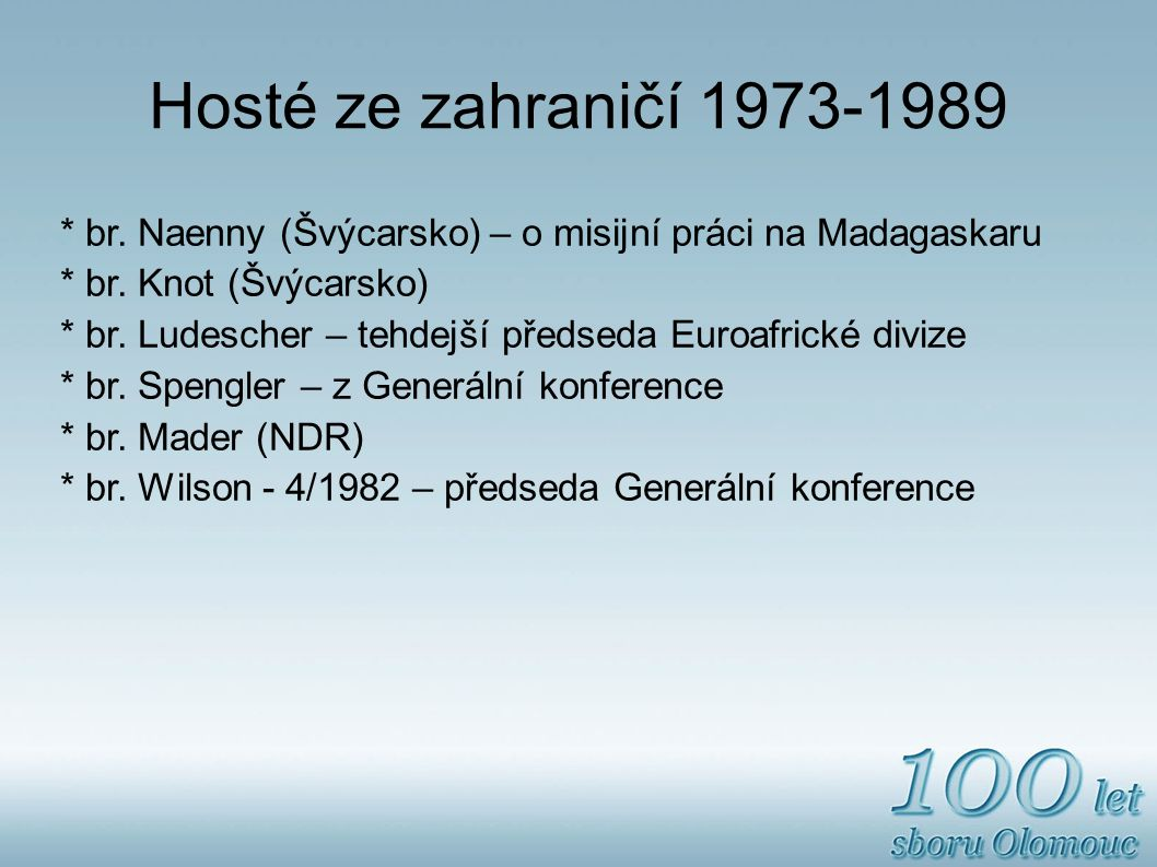 Hosté ze zahraničí 1973-1989 * br. Naenny (Švýcarsko) – o misijní práci na Madagaskaru. * br. Knot (Švýcarsko)