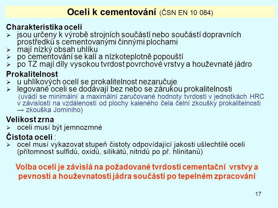 Oceli k cementování (ČSN EN 10 084)