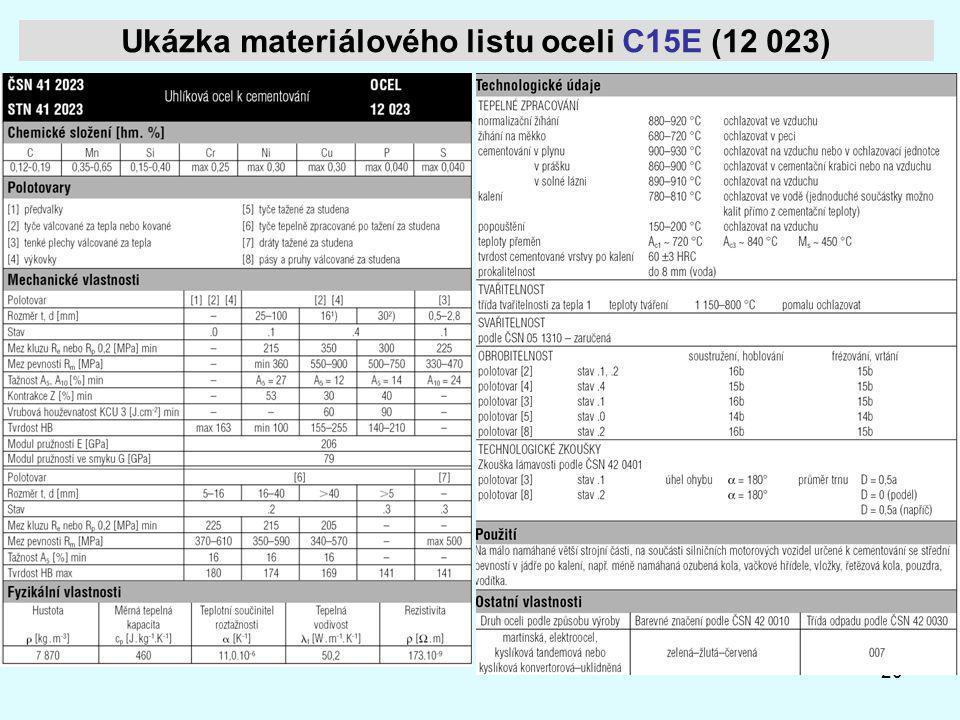 Ukázka materiálového listu oceli C15E (12 023)
