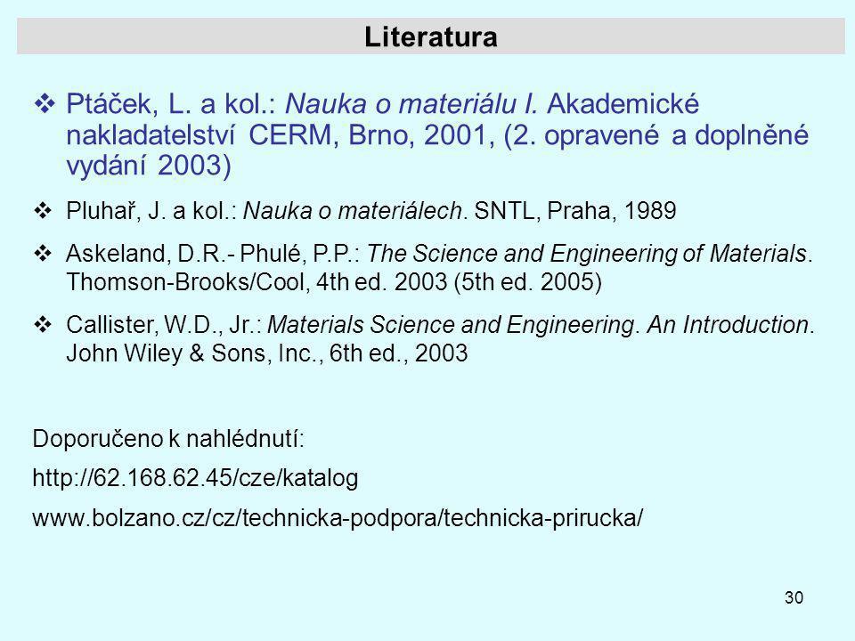 Literatura Ptáček, L. a kol.: Nauka o materiálu I. Akademické nakladatelství CERM, Brno, 2001, (2. opravené a doplněné vydání 2003)