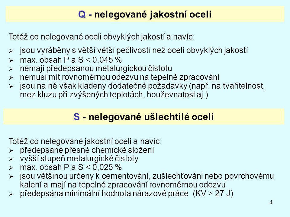 Q - nelegované jakostní oceli