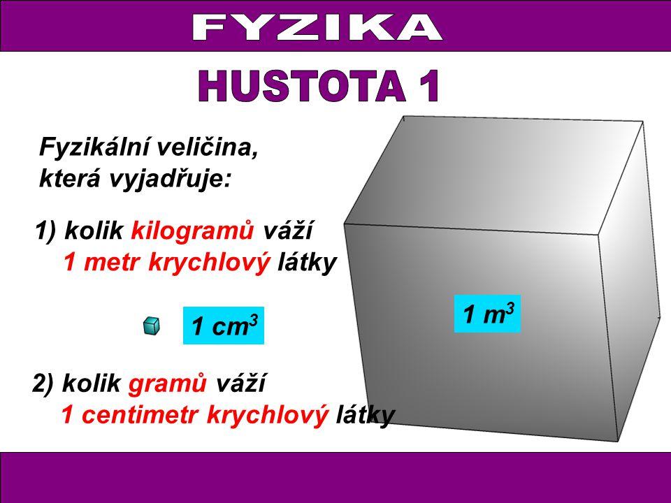 FYZIKA HUSTOTA 1 Fyzikální veličina, která vyjadřuje: