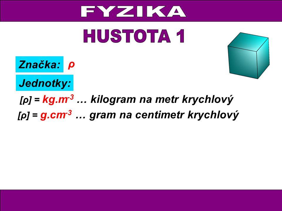 FYZIKA HUSTOTA 1 ρ Značka: Jednotky: