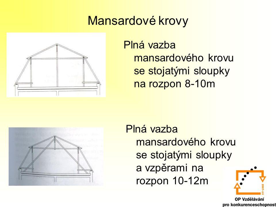 Mansardové krovy Plná vazba mansardového krovu se stojatými sloupky na rozpon 8-10m.