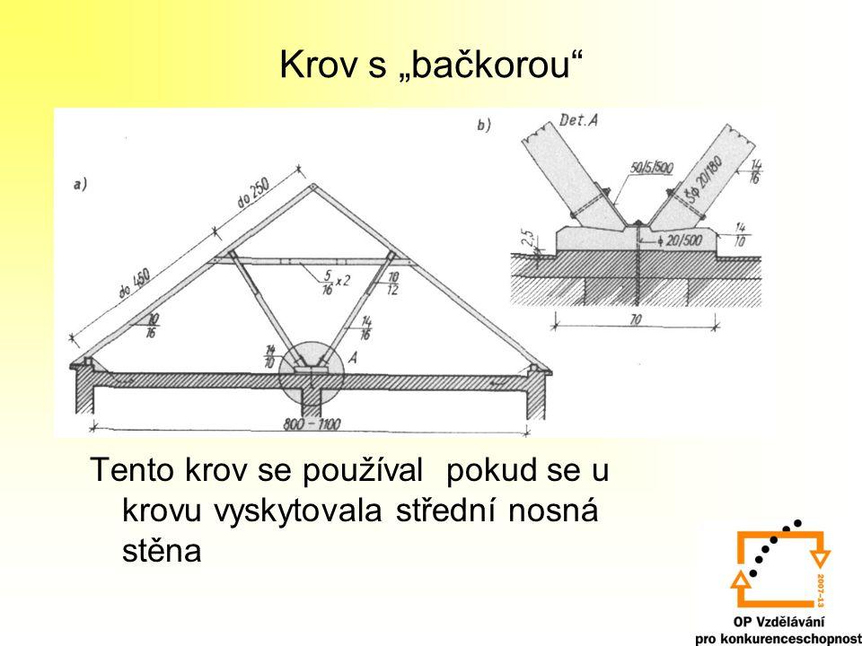 """Krov s """"bačkorou Tento krov se používal pokud se u krovu vyskytovala střední nosná stěna"""