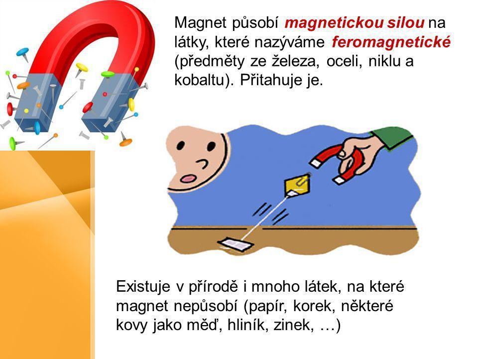 Magnet působí magnetickou silou na látky, které nazýváme feromagnetické (předměty ze železa, oceli, niklu a kobaltu). Přitahuje je.