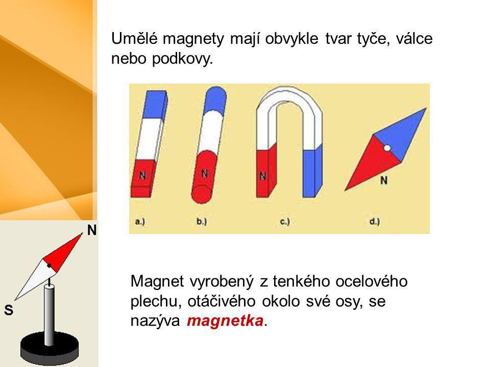 Umělé magnety mají obvykle tvar tyče, válce nebo podkovy.