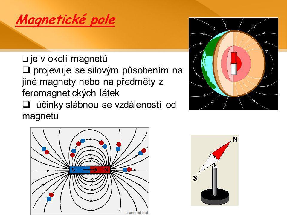 Magnetické pole je v okolí magnetů. projevuje se silovým působením na jiné magnety nebo na předměty z feromagnetických látek.