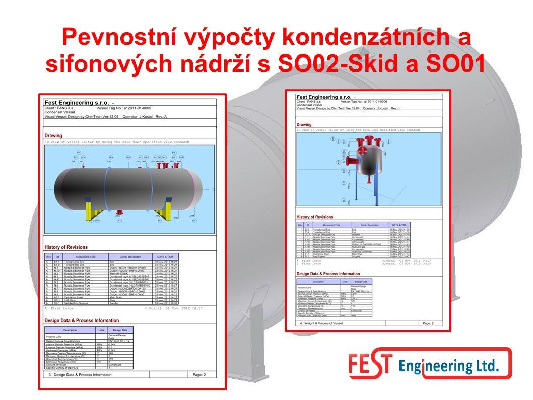Pevnostní výpočty kondenzátních a sifonových nádrží s SO02-Skid a SO01