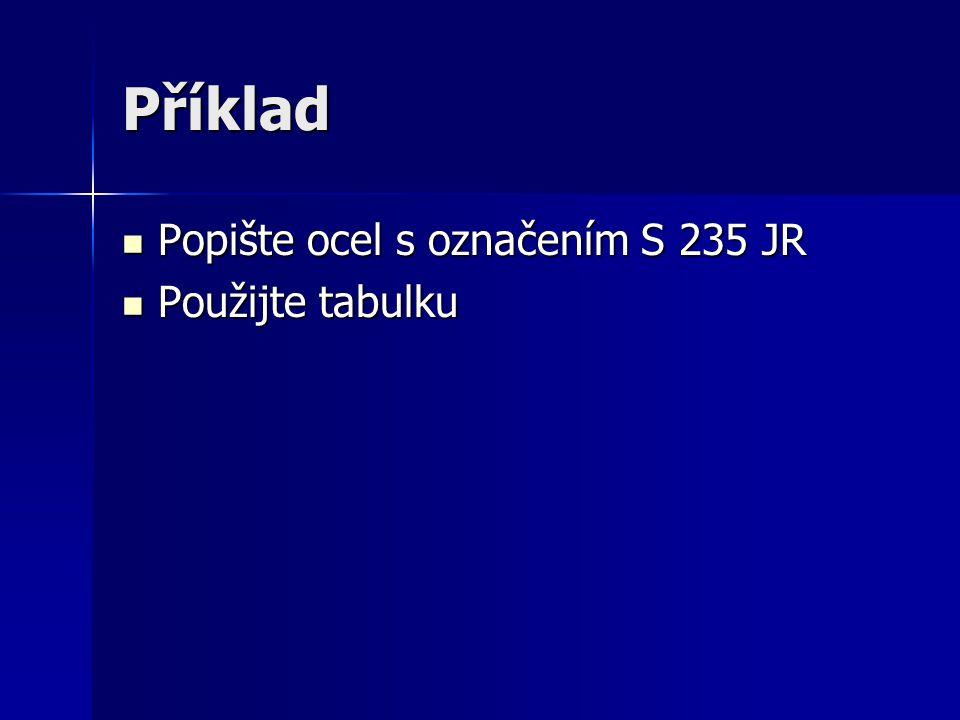 Příklad Popište ocel s označením S 235 JR Použijte tabulku