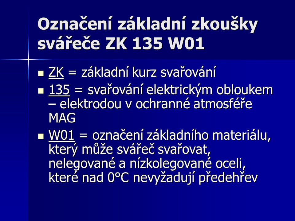 Označení základní zkoušky svářeče ZK 135 W01