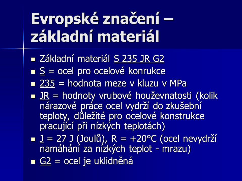 Evropské značení – základní materiál