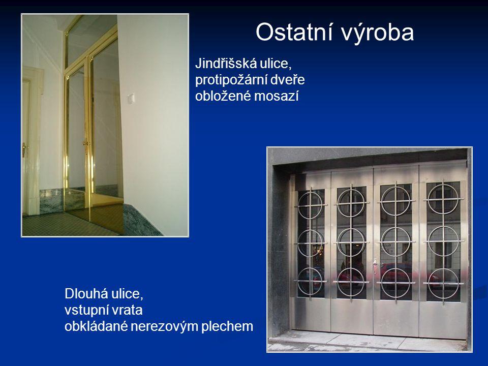 Ostatní výroba Jindřišská ulice, protipožární dveře obložené mosazí