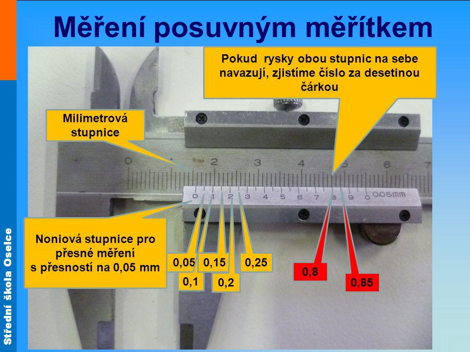 Měření posuvným měřítkem