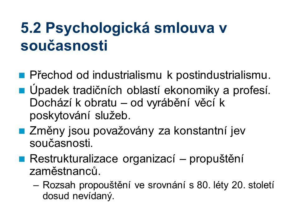 5.2 Psychologická smlouva v současnosti